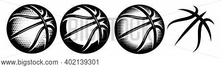 A Set Of Basketballs With Different Designs. Templates For Logo Design. Vector Isolated Illustration