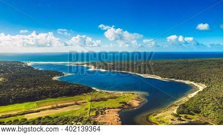 Beautiful Aerial View Of Lagoon Of Albufeira. Interpretive Area Little Lagoon, Sesimbra, Portugal. N
