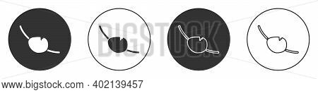Black Pirate Eye Patch Icon Isolated On White Background. Pirate Accessory. Circle Button. Vector