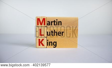 Mlk, Martin Luther King Symbol. Wooden Cubes And Blocks With Words 'mlk, Martin Luther King' On Beau