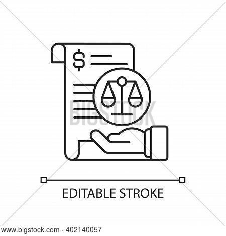 Balance Sheet Linear Icon. Financial Statement That Reports About Company Money Assets. Thin Line Cu