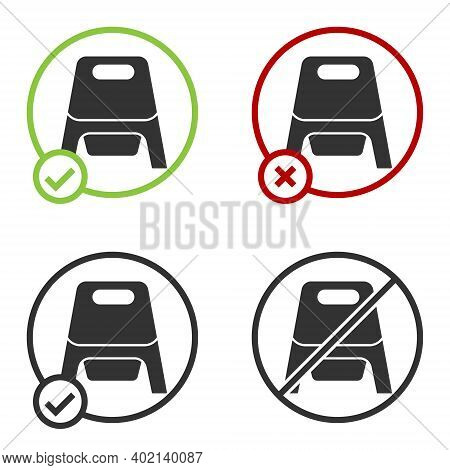 Black Baby Potty Icon Isolated On White Background. Chamber Pot. Circle Button. Vector