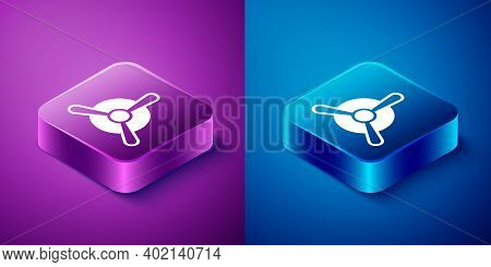Isometric Plane Propeller Icon Isolated On Blue And Purple Background. Vintage Aircraft Propeller. S