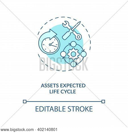 Assets Expected Life Cycle Concept Icon. Assets Inventory Element Idea Thin Line Illustration. Physi