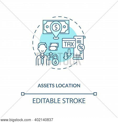 Assets Location Concept Icon. Assets Inventory Element Idea Thin Line Illustration. Savings Vehicles