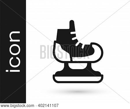 Black Skates Icon Isolated On White Background. Ice Skate Shoes Icon. Sport Boots With Blades. Vecto