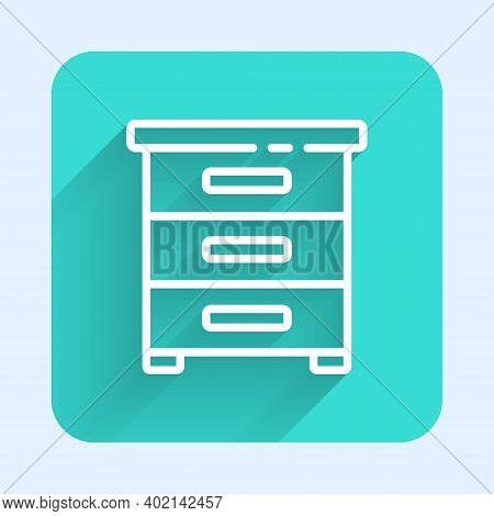 White Line Drawer With Documents Icon Isolated With Long Shadow. Archive Papers Drawer. File Cabinet