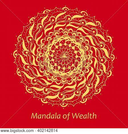 Mandala Of Wealth. Yellow Ethnic Mandala On A Red Background. Stock Isolated Illustration