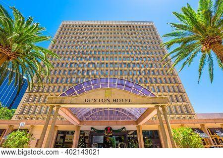 Perth, Western Australia, Australia - Jan 3, 2018: Main Facade Of Duxton Hotel, A Luxury 5-star Hote