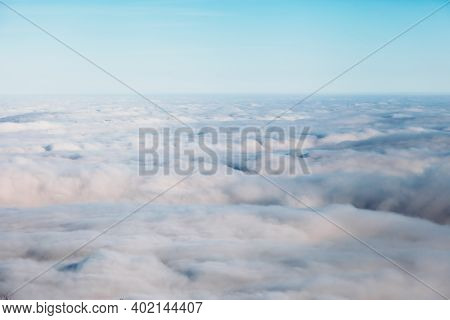 Aerial View White Clouds In Blue Sky Top View From Drone Aerial Birds Eye Landscape, Fly Aerial To V