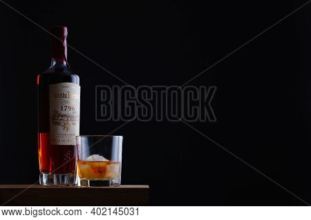 Prague,czech Republic - 4 January,2021:   Bottle Of Run Santa Teresa On The Wooden  Table. It Is The