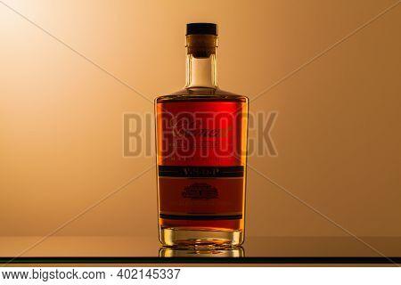 Prague,czech Republic - 27  December,2020: Bottle Of Rhum Clement On The Glass Table. Rhum Clement I