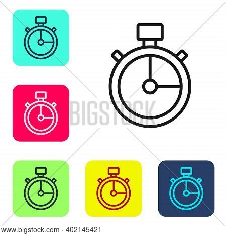 Black Line Stopwatch Icon Isolated On White Background. Time Timer Sign. Chronometer Sign. Set Icons