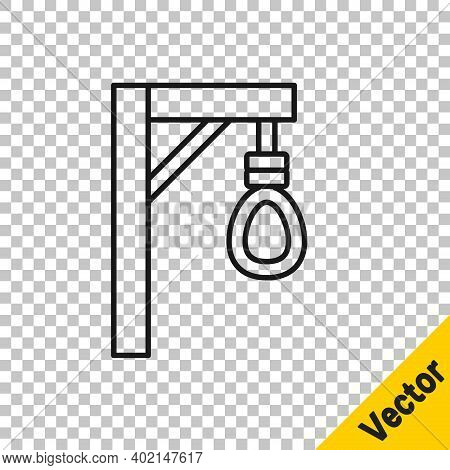 Black Line Gallows Rope Loop Hanging Icon Isolated On Transparent Background. Rope Tied Into Noose.