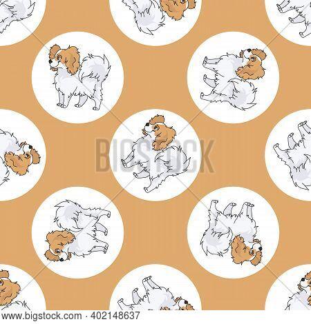 Hand Drawn Cute Papillon Dog Breed In Polka Dot Seamless Vector Pattern. Purebread Pedigree Puppy Do