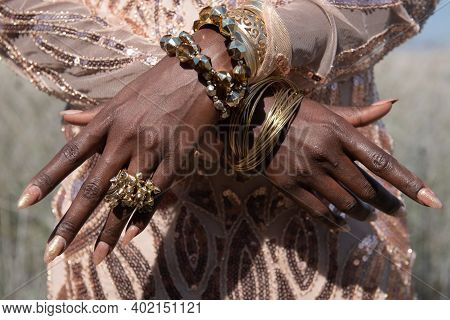 African Woman Model Hands With Accessories. Modeling And Fashion