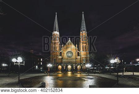 Detroit, Michigan - Usa - December 12-2020: Basilica Of Sainte Anne De Detroit