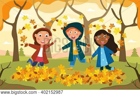Three Happy Kids Plying Amongst Autumn Leaves In Woodland Laughing And Dancing Together, Colored Vec