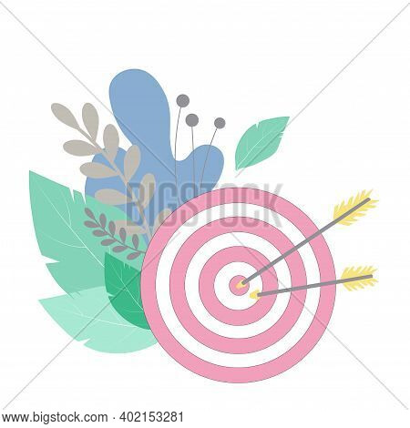 Target Pierced By Arrows Vector Stock Illustration. Concept Of Successful Completion Of Tasks, Effec