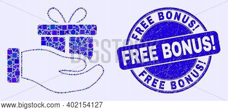 Geometric Gift Hand Mosaic Pictogram And Free Bonus Exclamation Stamp. Blue Vector Round Distress St