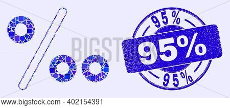 Geometric Per Mille Mosaic Icon And 95 Percents Seal Stamp. Blue Vector Round Grunge Seal Stamp With