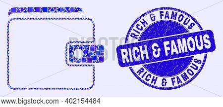 Geometric Purse Mosaic Pictogram And Rich And Famous Seal Stamp. Blue Vector Round Distress Seal Sta
