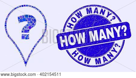 Geometric Question Mosaic Pictogram And How Many Question Seal. Blue Vector Round Distress Seal Stam