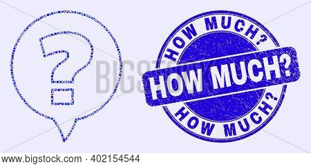 Geometric Question Mosaic Icon And How Much Question Stamp. Blue Vector Round Textured Stamp With Ho