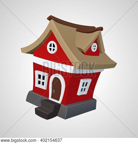 House Isolated Vector Illustration. 3d Red House