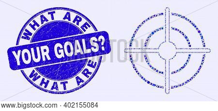 Geometric Bullseye Mosaic Pictogram And What Are Your Goals Question Seal Stamp. Blue Vector Rounded