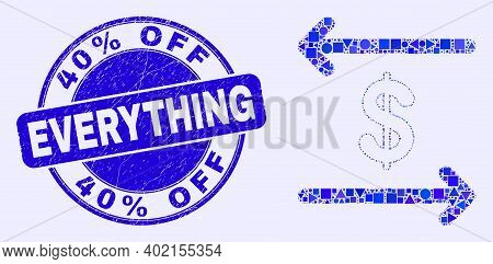 Geometric Dollar Exchange Arrows Mosaic Pictogram And 40 Percents Off Everything Stamp. Blue Vector