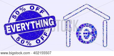 Geometric Euro Bank Mosaic Pictogram And 50 Percents Off Everything Seal. Blue Vector Round Grunge S
