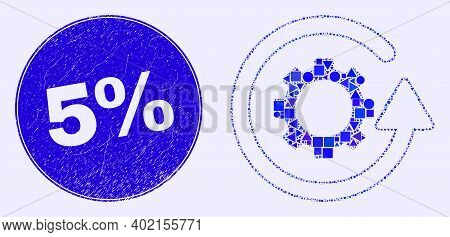Geometric Gear Rotation Mosaic Icon And 5 Percents Seal Stamp. Blue Vector Round Distress Stamp With