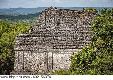 Ancient Pyramids At Dzibanche Ancient Maya Archaeological Site, Quintana Roo, Yucatan Peninsula, Mex