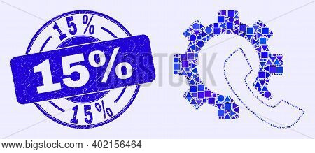 Geometric Phone Receiver Gear Mosaic Pictogram And 15 Percents Seal. Blue Vector Round Grunge Seal S