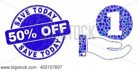 Geometric Coin Donation Hand Mosaic Pictogram And Save Today 50 Percent Off Seal Stamp. Blue Vector