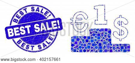 Geometric Currency Pedestal Mosaic Icon And Best Sale Exclamation Seal Stamp. Blue Vector Round Grun
