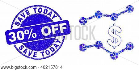Geometric Dollar Trend Charts Mosaic Pictogram And Save Today 30 Percent Off Stamp. Blue Vector Roun