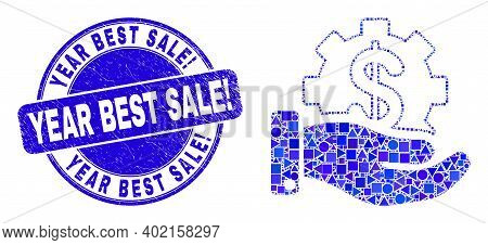 Geometric Financial Service Offer Mosaic Icon And Year Best Sale Exclamation Watermark. Blue Vector
