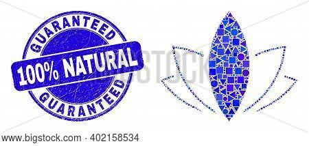 Geometric Lotus Mosaic Pictogram And Guaranteed 100 Percent Natural Watermark. Blue Vector Round Tex