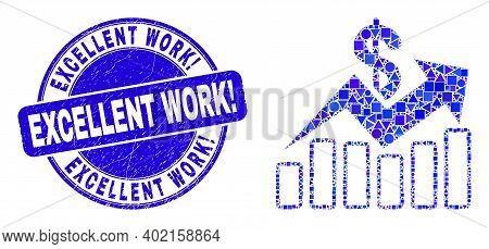 Geometric Sales Trend Charts Mosaic Icon And Excellent Work Exclamation Seal Stamp. Blue Vector Roun