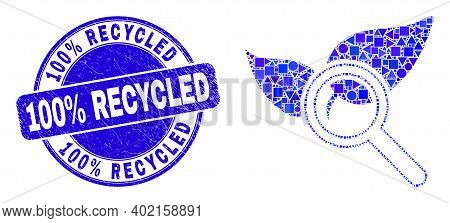Geometric Search Flora Plant Mosaic Icon And 100 Percent Recycled Seal Stamp. Blue Vector Rounded Gr