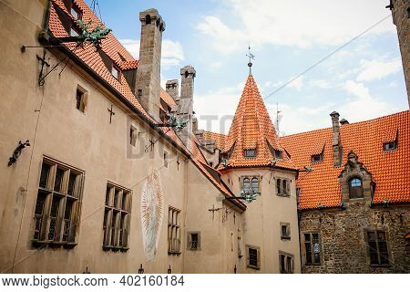 Courtyard Of Medieval Majestic And Romantic Gothic Castle Bouzov, Old Fairy-tale Stronghold Of Teuto