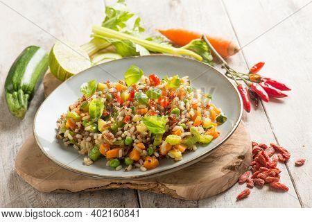 mixed quinoa salad with goji berries