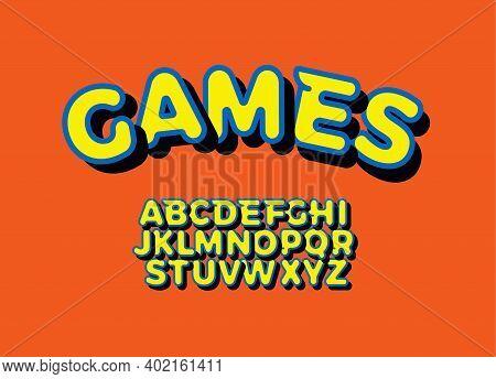 Bright Yellow 3d Font, Bold Alphabet For Modern Game Logo, Kids Zone Headline, Playroom Monogram, Co