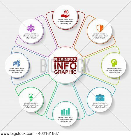 Infographic Vector Colorful Template For Presentation, Pie Chart, Diagram, Graph, Business Concept W