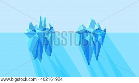 Iceberg Visible And Hidden Parts Floating In The Arctic Sea. North Landscape With Polygonal Geometri
