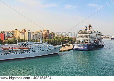 Port Of Piraeus, Athens, Attica, Greece - October 18, 2018:  Port Piraeus With Cruise Ships And View