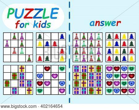 Sudoku Puzzle Winter Set For Kids Stock Vector Illustration. Educational Logic Children Game Colorfu