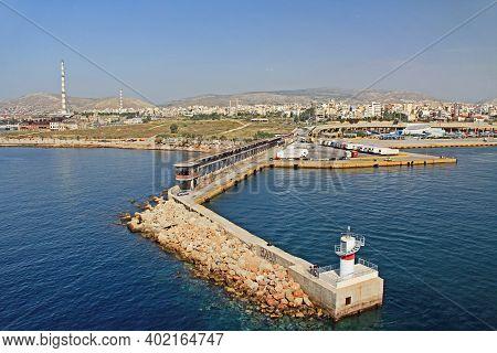 Port Of Piraeus, Athens, Attica, Greece - October 18, 2018:  Port Piraeus With Lighthouse On A Jetty